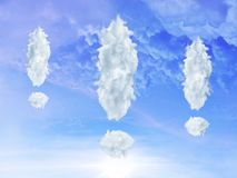 Clouds shaped as exclamation sign Stock Image