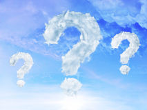 Clouds shaped as question mark stock illustration