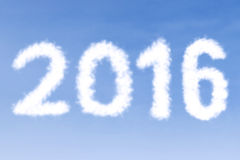 Clouds shaped numbers 2016 Stock Photos