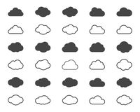 Clouds shapes or black icons set. Vector elements for weather forecast and storage applications Stock Photo