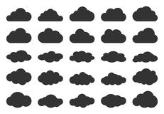 Clouds silhouettes. Vector set of clouds. Stock Image