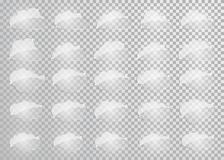 Clouds silhouettes. Vector set of glass clouds shapes. Collection of various forms and contours. Design elements for the weather f royalty free illustration