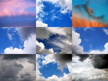 Clouds and Skies. Mosaic, 9 in 1 picture, 27 megapixel royalty free stock image