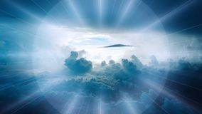 Clouds in skies with sun beams Stock Photos
