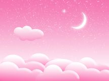 Clouds in the sky. Illustration about pink sky with clouds and moon royalty free illustration