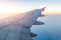 Clouds and sky as seen through window of an aircraft Royalty Free Stock Photography