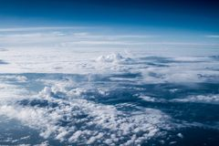 Clouds in sky atmosphere panorama. Outdoor planet Stock Photography