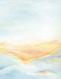Clouds and sky background. Heavenly sunset - dawn, hand painted watercolor background Royalty Free Illustration