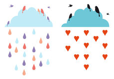 Clouds in the sky with birds, vector Stock Images