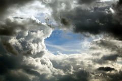 Clouds. Sky with black cloud hole Royalty Free Stock Image