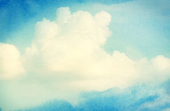 Clouds and sky on blue watercolor background Royalty Free Stock Images