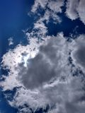 Clouds in sky. Clouds sky blue white weather hiding stock image
