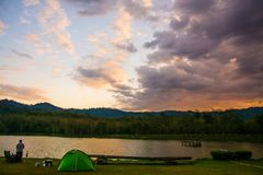 Clouds with sky and camping.  royalty free stock photos