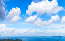 Clouds in sky at day over bay of Hong Kong Stock Images