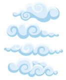 Clouds sky  illustration cartoon pattern collection set Web site page and mobile app design  element. Royalty Free Stock Photos