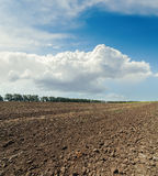 Clouds in sky over black field Stock Images