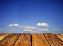 Clouds. Sky. It is a summer day by the sea. Near wood texture in perspective Stock Photos