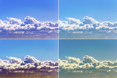 Clouds sky summer sun light warm spring set color.  Royalty Free Stock Image
