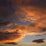 Clouds in sky with sunset. Royalty Free Stock Photography