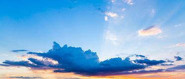 Clouds and sky at sunset. Stock Images