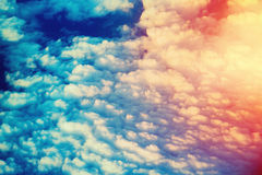 Clouds in the sky. Sunset view of clouds in the sky. Filtered image stock images