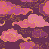 Clouds on the sky. Traditional oriental ornament in purple tones.  Vector seamless pattern Royalty Free Stock Photo