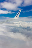 Clouds and sky in window of aircraft stock images
