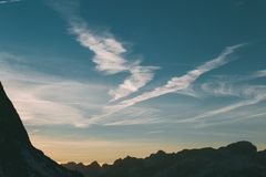Clouds and skyline, Dolomites Mountains stock image