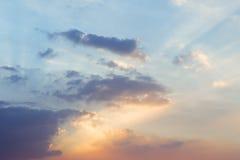 clouds skysolnedgång Royaltyfria Bilder