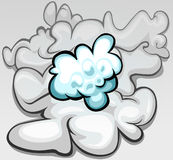 Clouds. Small blue cloud infront of big grey cloud stock illustration