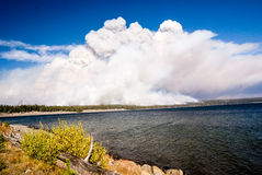 Fire Approaches Lake Yellowstone Stock Photography