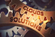 Clouds Solutions Concept. Golden Cog Gears. 3D Illustration. Stock Image