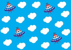 Cute kids pattern for boys. Blue sky with cute clouds and colorful spaceship background create a fun cartoon drawing. Urban backdrop for textile, fabric, and royalty free illustration
