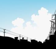 clouds stads- vektor illustrationer
