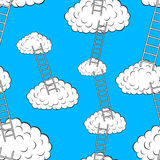 Clouds with stairs, seamless wallpaper. Vector illustration Royalty Free Stock Photography