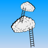 Clouds with stairs, vector illustration Royalty Free Stock Photo