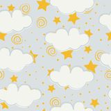 Clouds and stars kids seamless pattern design vector illustration