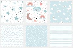 Clouds stars kids seamless pattern Vector set of background patterns in pale blue. Stars smiling clouds moon kids repeate background Set of background patterns vector illustration