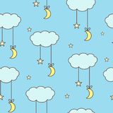 Clouds, stars and moon seamless vector background in cartoon style. Cute clouds with a star and a moon on a blue background Royalty Free Stock Image