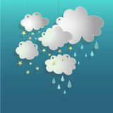 Clouds with stars on a turquoise background. Vector illustration Stock Image