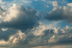 Clouds in the stormy sunset sky Royalty Free Stock Photo