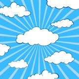 Clouds stylized flat set. Under the mask. Blue background with sectors from center to edges. Fluffy clouds vector silhouettes royalty free illustration