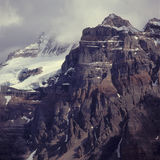 Clouds on the summits of the Wenkchemna Mountains, Valley of the Ten Peaks, Banff National Park, Alberta Stock Photos
