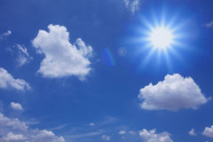 Clouds and sun. Blue sky with clouds and sun Royalty Free Stock Photos