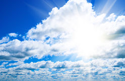 Clouds and sun. White clouds of blue sky and sun Royalty Free Stock Images