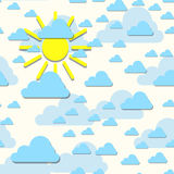 Clouds with sun backdrop. Vector illustration. Abstract cartoon cloudscape decorative background. Royalty Free Stock Photos