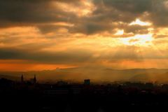 Clouds & Sun Banska Bystrica , Europe Stock Images