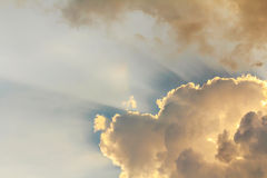 Clouds and sun beams Royalty Free Stock Image