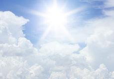 Clouds and sun in the blue sky for background texture Royalty Free Stock Image