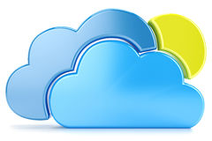 Clouds. Sun and cloud icon to download data  on white background Stock Image